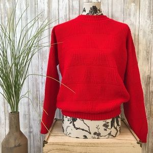 Vintage Red Knitted Jumper Sweater